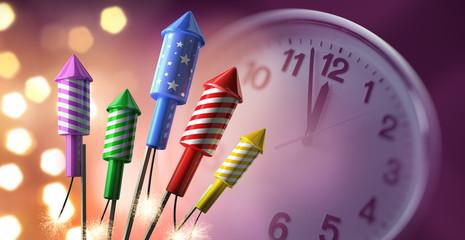 Feuerwerksraketen mit Uhr 2