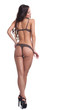 Rear view of happy slim model posing in lingerie - 71377638