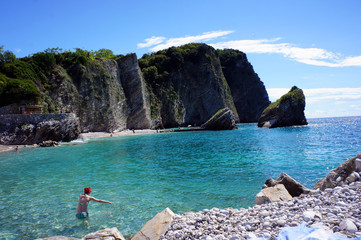 Swimming in the bay of the island of St. Nicholas