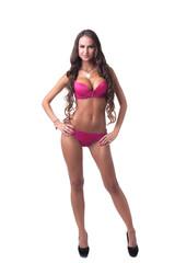 Tanned model demonstrates stylish pink underwear