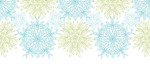Vector abstract plants mandalas horizontal border seamless