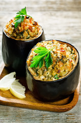 eggplant stuffed with bulgur and vegetables