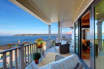 Romantic sitting area on walkout deck