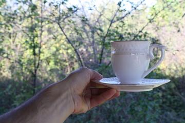 чайная пар в руке