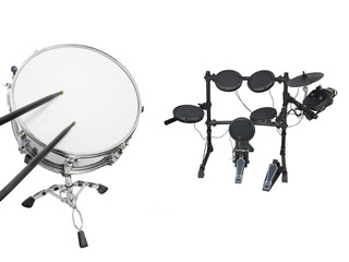 Drums set isolated under the white background