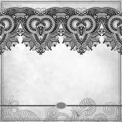 grey flower ornamental line design on grunge background