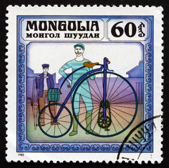 Postage stamp Mongolia 1982 Kangaroo, 1877, Historic Bicycle
