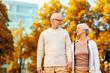 canvas print picture - senior couple in city park