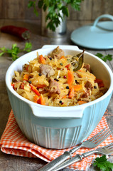 Stewed cabbage with meat.