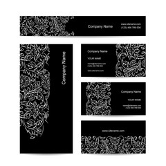 Business cards design, floral ornament