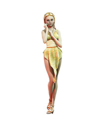 Pin-up girl in gold dress