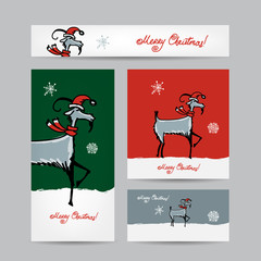 Funny goat santa. Christmas cards 2015 design.