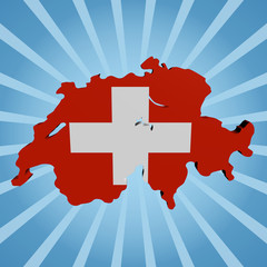 Switzerland map flag on blue sunburst illustration