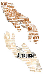 Altruism word cloud shape