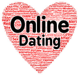 Online dating word cloud shape