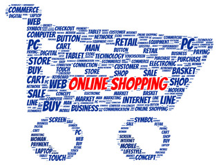 Online shopping word cloud shape
