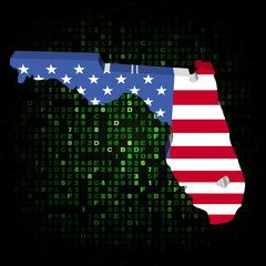 Florida state map flag on hex code illustration