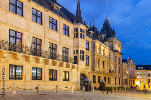 Grand Ducal Palace in the dusk, Luxembourg city - 71380426