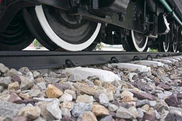 Black and white wheel of train