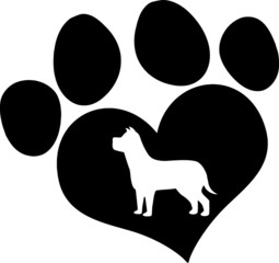 Black Love Paw Print With Dog Silhouette
