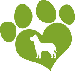 Green Love Paw Print With Dog Silhouette