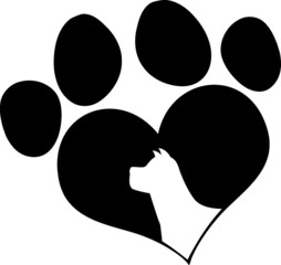 Black Love Paw Print With Dog Head Silhouette