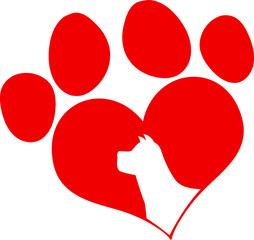 Red Love Paw Print With Dog Silhouette