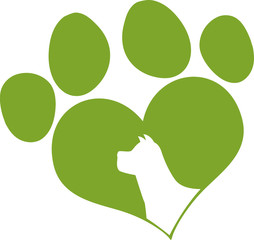 Green Love Paw Print With Dog Head Silhouette