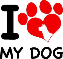 I Love My Dog Text With Red Heart Paw Print And Dog Head