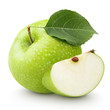 Green apple with leaf and slice isolated on a white - 71381244