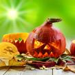 canvas print picture - Brennender Halloween