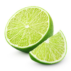 Half and slice of lime citrus fruit isolated on white