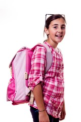 smiling little girl with backpack