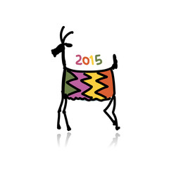 Funny goat sketch. Symbol of 2015 new year