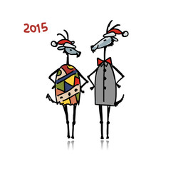 Couple of funny goats. Symbol 2015 new year