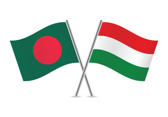 Hungarian and Bangladesh flags. Vector illustration.