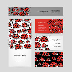 Funny ladybirds, business cards for your design