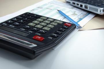 Closeup image of calculator keyboard.