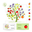 Infographic tree with fruits. Business card template.
