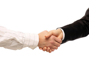 Businesspeople shaking hands isolated on white Background.