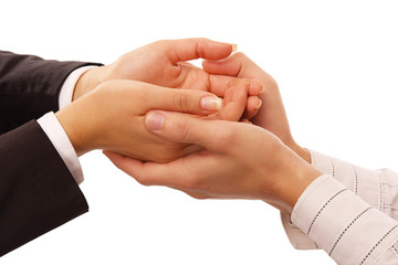 Handshake , isolated on white background.