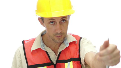 Male Tradesman Boss Hand Signal