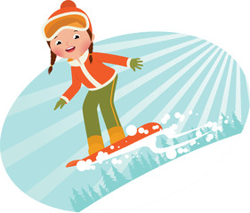 Girl snowboarder sliding down the mountain on a snowboard