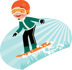 Cartoon snowboarder fun coming down the mountain
