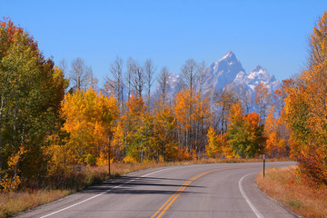 Scenic  drive in Grand Tetons national park