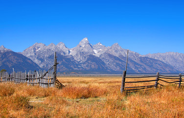 Scenic Grand Tetons national park in autumn time