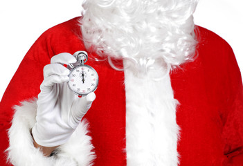 close up of Santa Claus holding a stopwatch