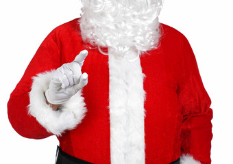 Santa Claus pointing something with his finger