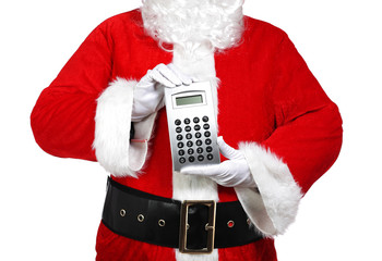 Santa Claus holding a calculator