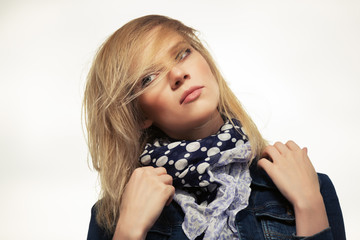 Portrait of young fashion woman outdoor